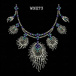 Wholesale WNE73 Neckline designs rhinestone transfers Free Shippin