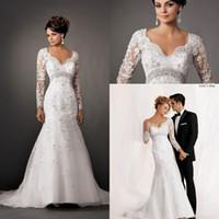 Wholesale New Arrival V Neck Vintage Lace Long Sleeve Wedding Dresses Backless vestido de noiva