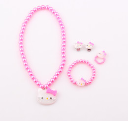 Wholesale Cute Children Cat Necklace Jewelry Set Girl Kids Baby Simulated Pearl Cat Necklace Bracelet Ring Earrings Set ZST22
