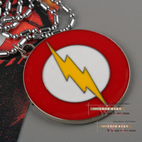 Metal flashing christmas jewelry - 10pcs Marvel Super Hero The Flash Necklace Metal Pendant Men Jewelry ANPD1130 Christmas