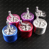 Wholesale New Metal Alloy Tobacco Herb Grinder Pocket pc Parts layer HAND CRANK Cigarette Smoking Spice Crusher free ship