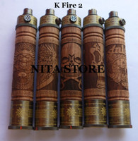 Wholesale wood electronic cigarette k fire e cig vaporizer vape pen e fire kit ecig smoking e fire twist variable voltage battery mix order