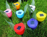 solar power flower - Outdoor Yard Garden Path Way Solar Power LED Tulip Landscape Flower Lamp Lights