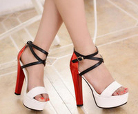 Wholesale New Fashion Supper Sexy Woman High Heels Sandals Lady Elegant Bandage Summer Dress Shoes White Red EU34 ech099