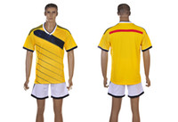 Wholesale 2014 World Cup Colombia Home Jerseys Mens Soccer Sets Yellow Cheap Sports Uniform Best Quality Outdoor Apparel Brand Mens Sports Shirts