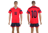 Wholesale 2014 World Cup Colombia Away Jerseys James Mens Soccer Sets Red Top Cheap Sports Uniform Brand Mens Sports Shirts All Team Jerseys