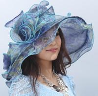 Wholesale Women Hat Fashion Kentucky Derby Hat Dress Hat Organza Hat Organza Flower Wide Ruffle Brim Flower Wide Brim Hat Newly Designed Two Colors