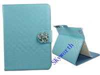 Folding Folio Case 7'' For Apple Fashon Lambskin Sheep style Leather cases cover For ipad air 5 mini mini2 retina 7.9 inch tablet case flower Diamond Credit card slots pouch