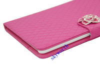 Folding Folio Case 7'' For Apple Diamond flower Lambskin Sheep skin Leather cases cover For ipad air 5 mini mini2 retina 7.9 inch tablet case Credit card slots pouch