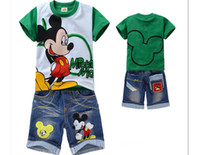 Cheap New 2013 Autumn-summer Kids Clothing Sets Cartoon Children t shirts + Jeans Pants Sport Suit Boys Clothing Set