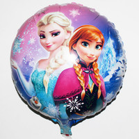 Wholesale 1404z free ship Frozen x45cm balloon for birthday party Princess Anna Elsa inch round Aluminum foil cartoon helium balloons
