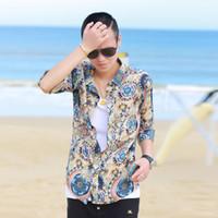 Men 100% Linen Short Sleeve Men Lest - party neutral terms less smooth ice silk floral shirt shirt Slim Korean men