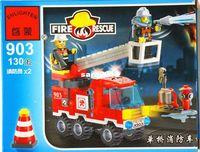 Plastics Blocks White No 903 Fire truck Enlighten Building Block Set 3D Construction Brick Toys Educational Block toy for Children