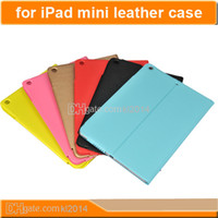 For iPad mini PC White 100pcs lot ipad mini Genuine Leather Case Cover Apple ipadmini Cases Shell Skin Red Black Orange Cheap Price