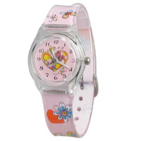 Casual Children's Water Resistant Hot! Wholesale High Quality Cartoon Plastic Cement Band Girl's Kid's Wrist Watch Water Resistant