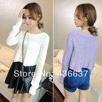Women Acrylic Twinset Women fashion Short long Sleeve Knitting long Sleeve Sweater T- top Jumper
