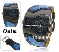 Wholesale Oulm Fashion Quality Cheap Luxury men s military Wrist watch with Dual Quartz Movement Leather strap colors