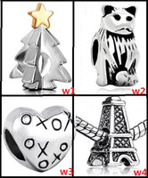 Wholesale 35 STYLE silver beads FOR Pandora necklaces bracelets Heart shaped the Eiffel Tower beads Charm Jewelry
