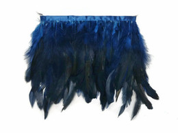 Free Shipping 10yards lot Coque Rooster feather trimming Navy Chinchilla Rooster Feathers Trim feather fringe