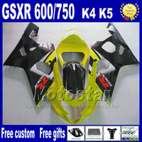 Wholesale 7 gifts motorcycle fairings for SUZUKI GSXR yellow black ABS plastic fairing body kits K4 GSX R Hj4