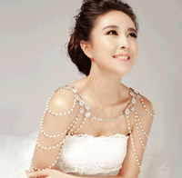 Wholesale Fashionable Wedding Bridal Bridesmaid Party Ladies Silver Crystal Rhinestone Pearls Tassel Necklace Set Body Shoulder Long Chain Jewelry