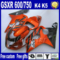 Wholesale 7 gifts motorcycle fairings for SUZUKI GSXR brown black ABS plastic fairing body kits K4 GSX R Hj7