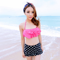 Wholesale Sexy swimwear bikini retro ocean light stand on another piece skirt bikini swimsuit small chest gather Springs woman