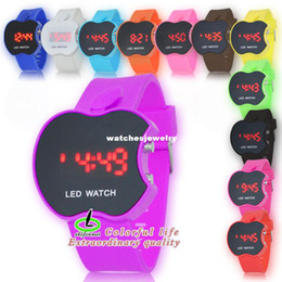Wholesale Big Discount New Arrival Apple Face Mirror LED Watches With Red Light Silicone Band