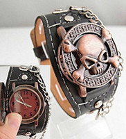 analog holiday - holiday sale Cool Copper Skull with Cover Design black Leather Watch Men fashion wrist watch TOP quality