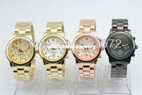 Unisex Round 22 Freeshipping 1pcs lot 5color cheap metal geneva wrist watch for men women,without logo,metal band case,chinese quartz movement