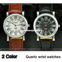 Men's Round 23 Hot MINGEN SHOP - 2 pcs Classic Round Dial Roman Numerals Leather Band Gentle Men Suit Cuff Watch Q358 359 Gift wholesale