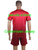 Wholesale soccer uniforms World Cup Portugal Home Red Soccer Jerseys With Shorts Customized National Team Soccer suits Hot Selling