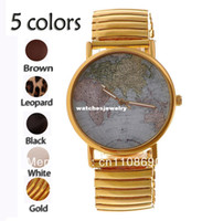 Water Resistant asia world - JW092 Fashion Unique World Map Asia Africa Oceania Part Beard Mustache Series Watch Quartz Watch with PU Leather Strap