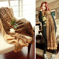 Wholesale Cashmere wool printing leopard grain primordial ball scarf