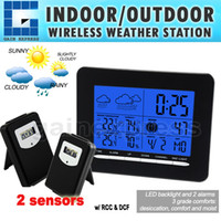 Indoor / Outdoor Hygrometer S08S3318BL_2S S08S3318BL_2S Digital Indoor Outdoor Temperature Wireless Weather Station RCC DCF Radio Controlled Clock Date Calendar + 2 sensors