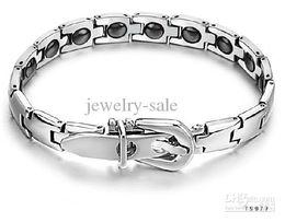 Wholesale - Health Care magnetic Bracelet inlaid 16 natural bio-magnetic quantum energy bracelets chain GS977