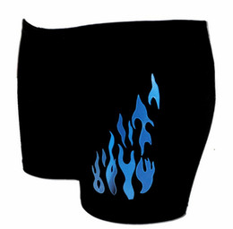 Wholesale fashion men boxer blue red flames offset thirds swimwear trunks yz6101