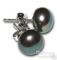 Wholesale 9 mm Tahitian black green pearl earring silver post