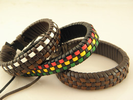 Hot sale Stylish Genuine Leather Braided Wristband Bracelets Grid pattern men women Handmade Vintage Brand New 36pcs