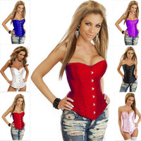 Wholesale Strapless Lingerie Tops - Sexy Lingerie Shapers Bustiers Strapless Satin Corset Waist Training Body Shaper Plus Top & G-String Size 3XL-6XL