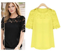 Cheap Polyester sheer blouse Best hollow out   tops blouse