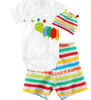 Girl Spring / Autumn Short baby wear girl and boy sets short sleeve romper short hat baby clothing 3 sets Cotton infant romper Baby clothes set wholesale