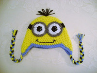 Boy Winter Crochet Hats Free Shipping Despicable Me Minion ish Hat Crochet Animal Hats Newborn Toddler Baby Boys Girls Headwear Children Beanie Earflaps