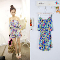 Women Loose High 2013 Summer wholesale fashion sexy strapless one piece shorts jumpsuit women's flower print tube top jumpsuit SZA- 1692