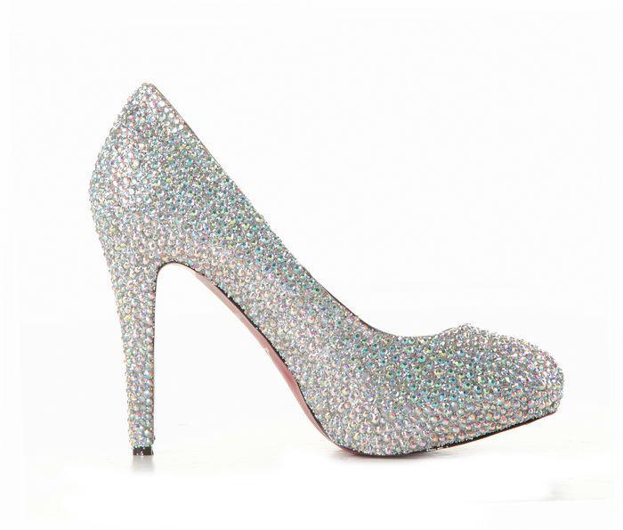 Stunning High Heels Closed Toe Silver Rhinestone Cheap Fashion ...