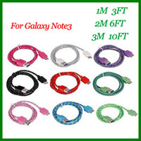 For Samsung   Micro USB 3.0 DATA Sync Charging Cable Fabric Braided Woven Cord Charge Cable For Samsung Galaxy Note 3 lll N9000 1M 2M 3M