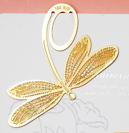 Wholesale bookzzicard exquisite K bookmark natural Golden Dragonfly paragraph Creative Bookmarks a361