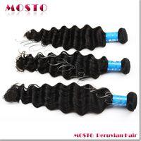 30 inch hair extensions - Peruvian virgin hair Human hair extensions Hair wefts MOSTO Deep Wave A bundles inches Drop shipping