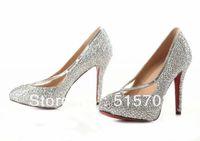 Half Boots Women PU Shining High Heels Closed Pointed Toe Rhinestone Cheap Fashion Designer Women Wedding Party Shoes