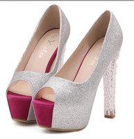 Women Pumps Chunky Heel 2014 princess crystal heel red toe glitter silver wedding bride shoes platform peep toe prom grown dress shoes ePacket free shippinge